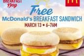 Free McDonald's Breakfast Sandwich on March 13