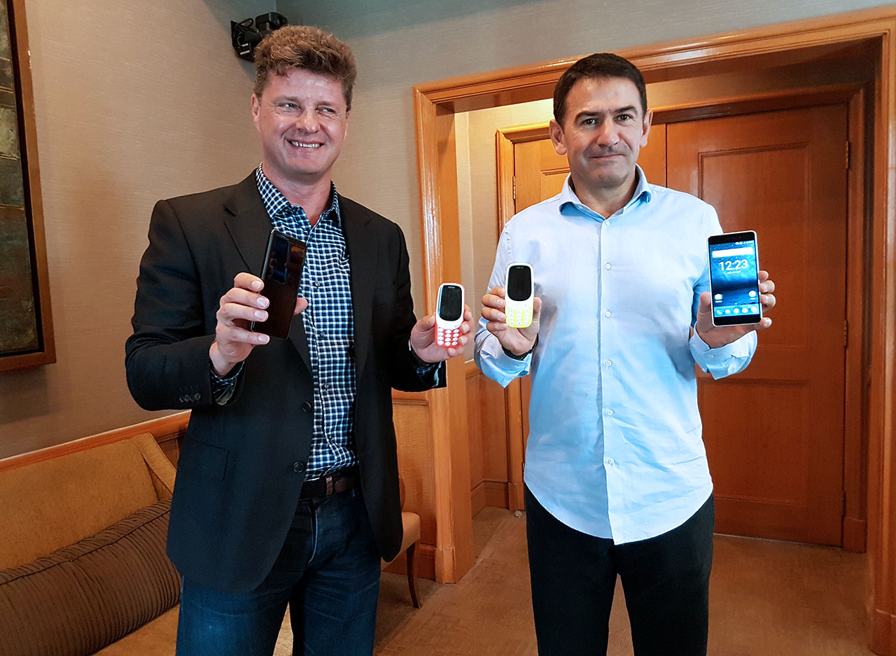 HMD Global CEO Arto Nummela together with James Rutherford, VP Asia Pacific for HMD Global shows the latest Nokia phones.