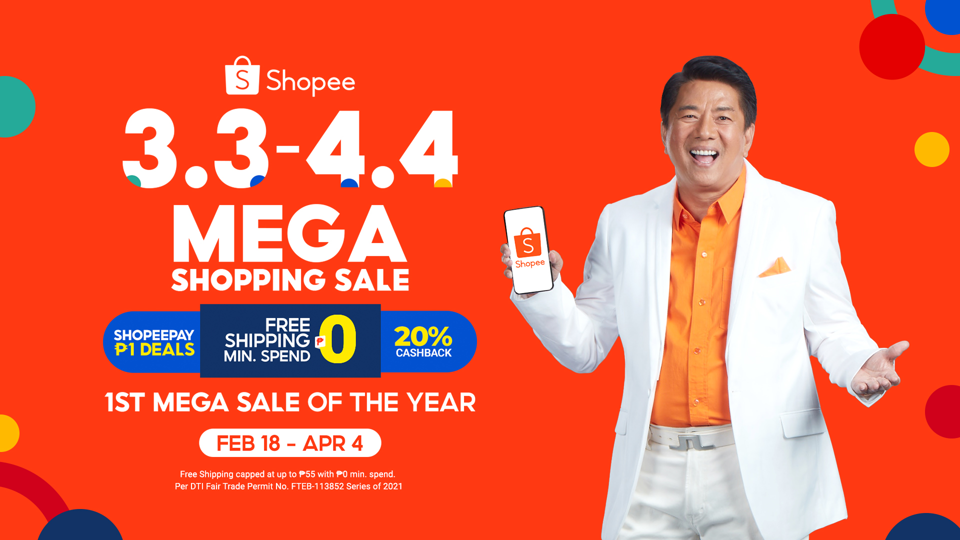 Shopee launches 3.3 – 4.4 Mega Shopping Sale and catch newest brand ambassador Willie Revillame on Shopee's TV specials